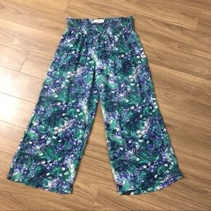 Guess palm leaf print wide leg pants boho style